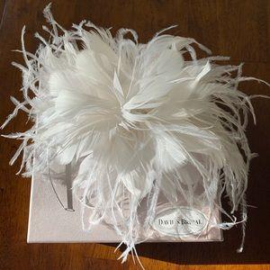 Beautiful David's Bridal Feathery Headband